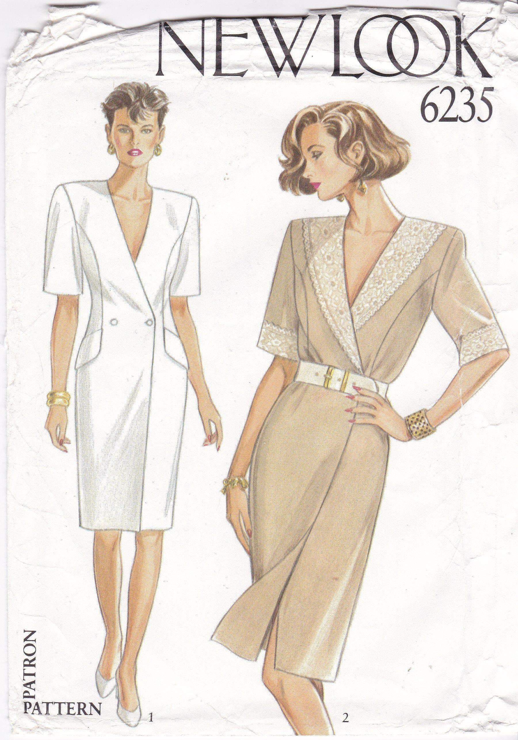 Dress Patterns Size 8 10 12 14 16 Semi Fitted Straight Etsy Wrap Dress Pattern Womens Wrap Dress Double Breasted Dress [ 2572 x 1800 Pixel ]