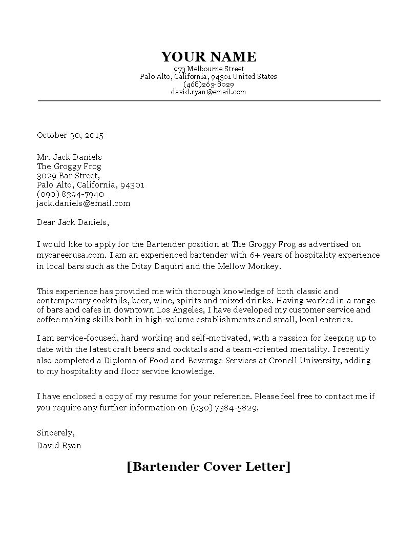 27 Bartender Cover Letter Cover Letter For Resume Resume Cover