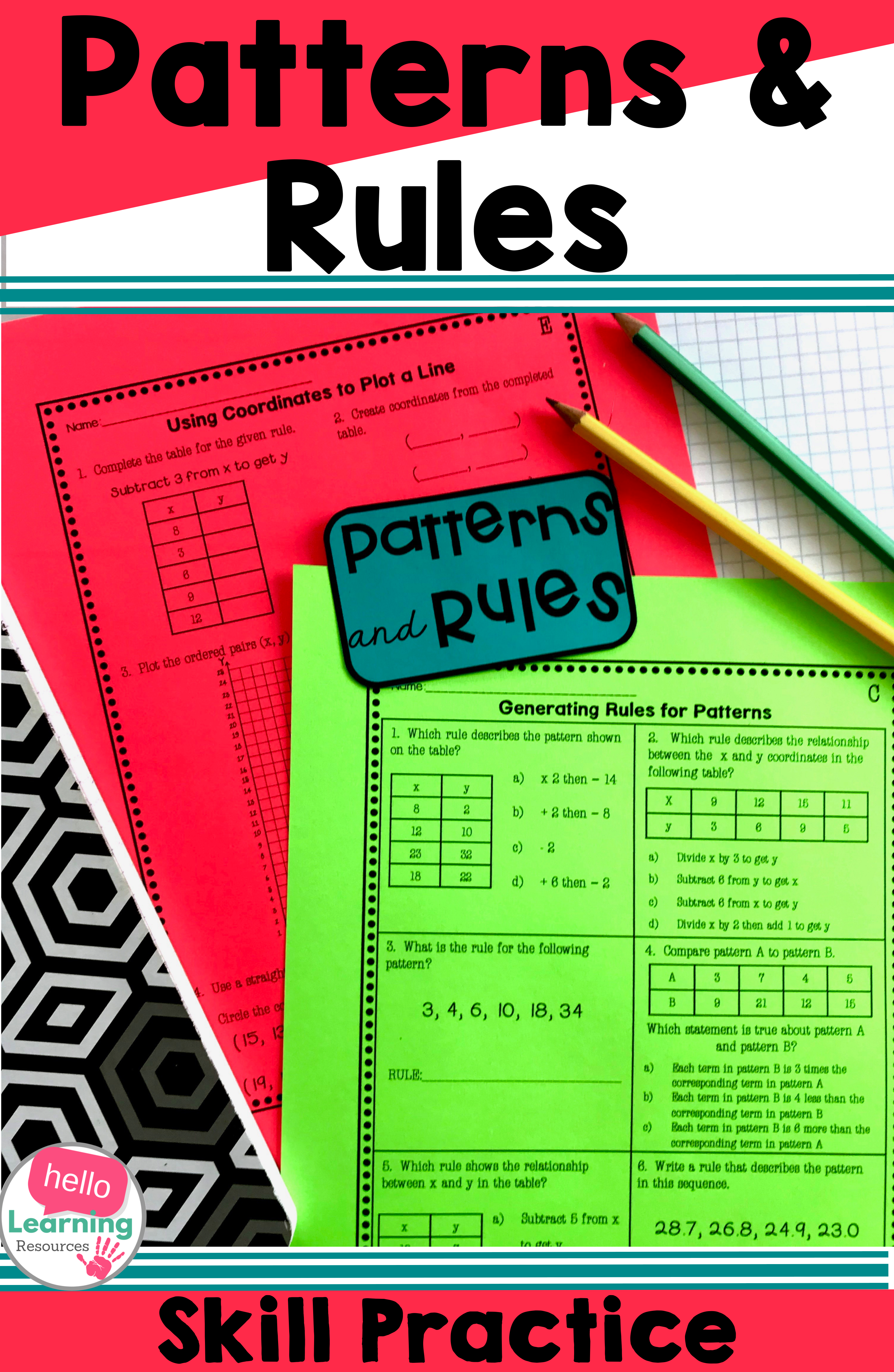 Number Patterns And Rules Worksheets Upper Elementary Math Math Word Problems Teaching Numbers [ 4463 x 2909 Pixel ]