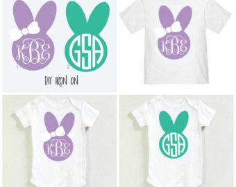 64a8483b11950 DIY Easter Bunny Iron on Heat Transfer Monogram - Girl and Boy style ...