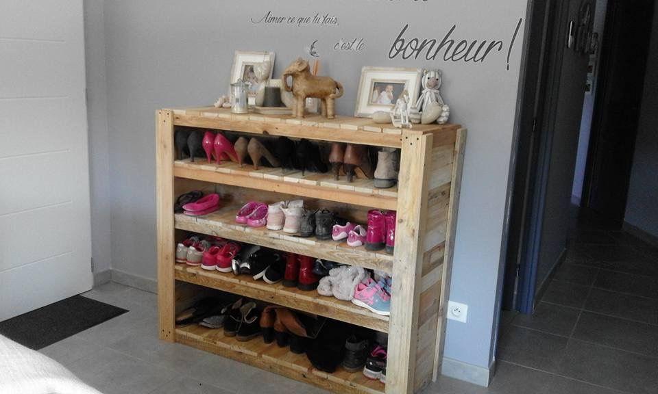Meuble à chaussures en palettes 2/3 Meubles design Pinterest