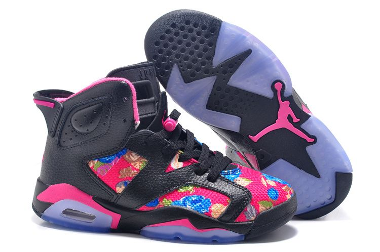 low priced b6d6b 225b3 Womens Air Jordan 6 GS Floral Custom Black Pink For Sale In Girls Size