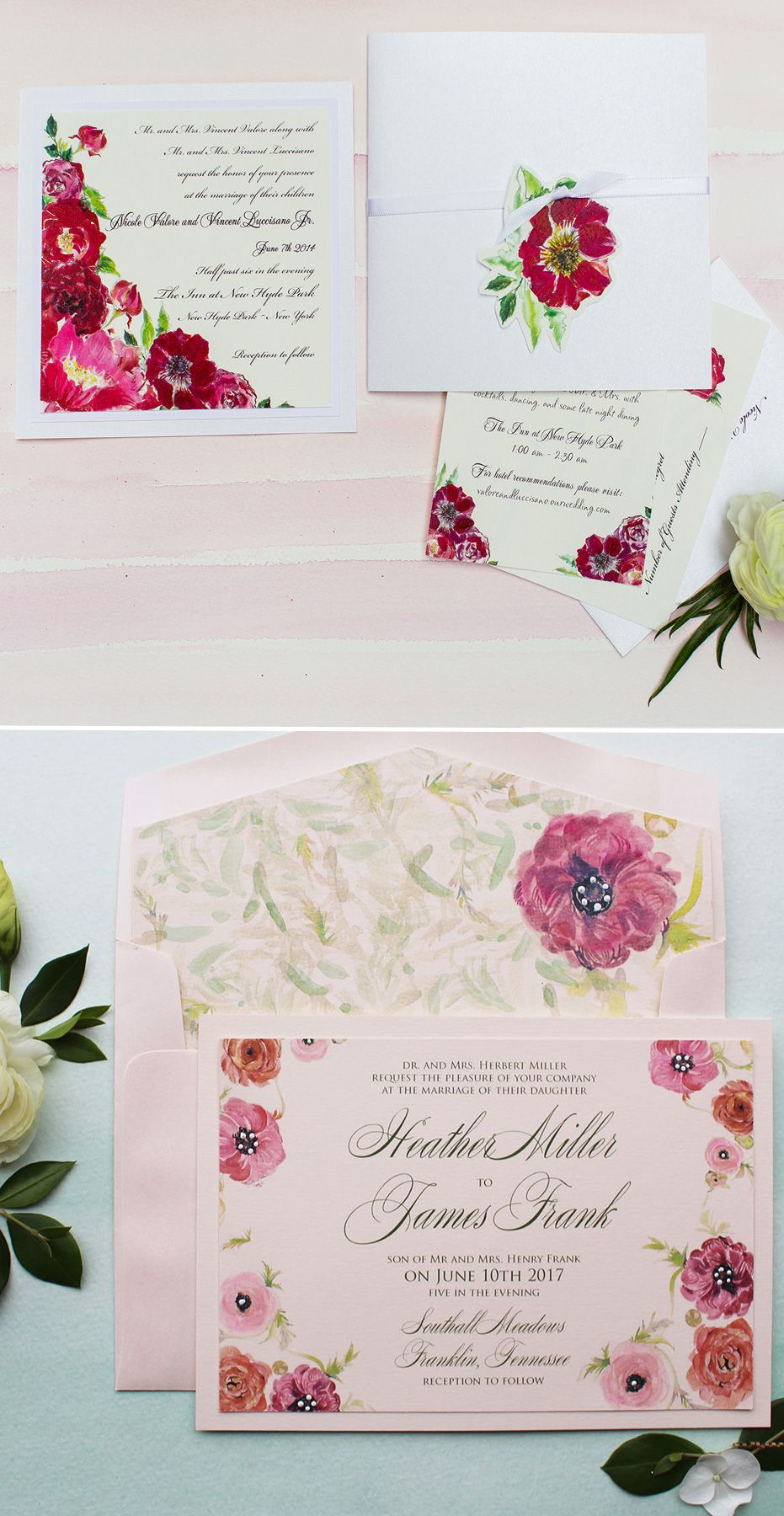 Fuchsia Ranunculus and Anemone Hand Painted Wedding Invitations  #momentaldesigns #handpainted #weddinginvitations #watercolorweddinginvitations