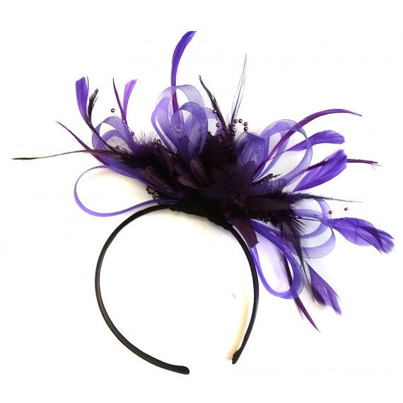 Caprilite Cadbury & Dark Purple Feathers Ascot Fascinator Headband