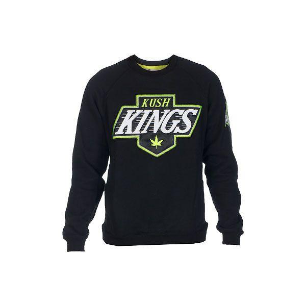 KUSH KING CREW SWEATSHIRT (66 AUD) ❤ liked on Polyvore featuring tops, hoodies, sweatshirts, shirts, sweaters, crew neck top, crew shirt, crew neck shirt, crewneck sweatshirt and crew-neck tops