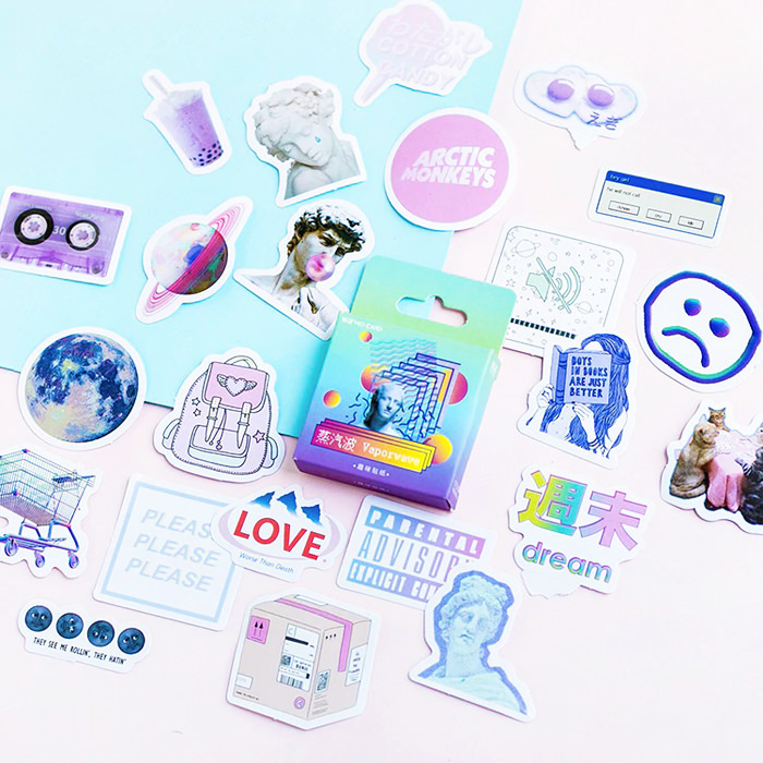 46 Pcs Vaporwave Aesthetic Stickers Pack Aesthetic Stickers Journal Stickers Kawaii Stationery