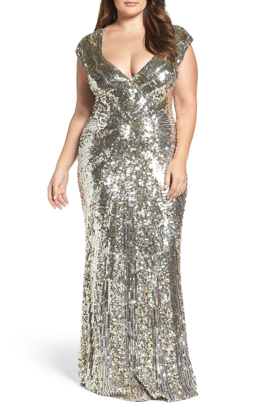 85c4cfe533 Mac Duggal Sequin Plunging V-Neck Gown (Plus Size)