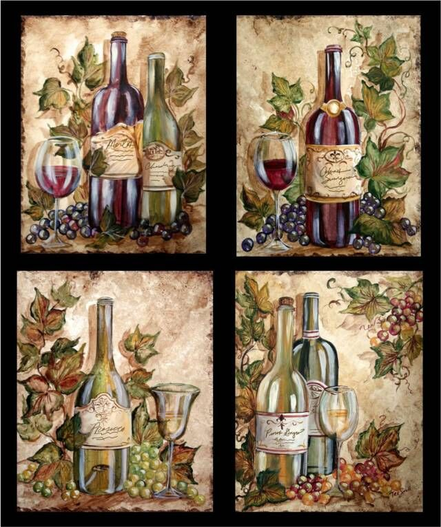 Wine Bottle Grapes On Wine Bottles | Tre Sorelle Art for ...