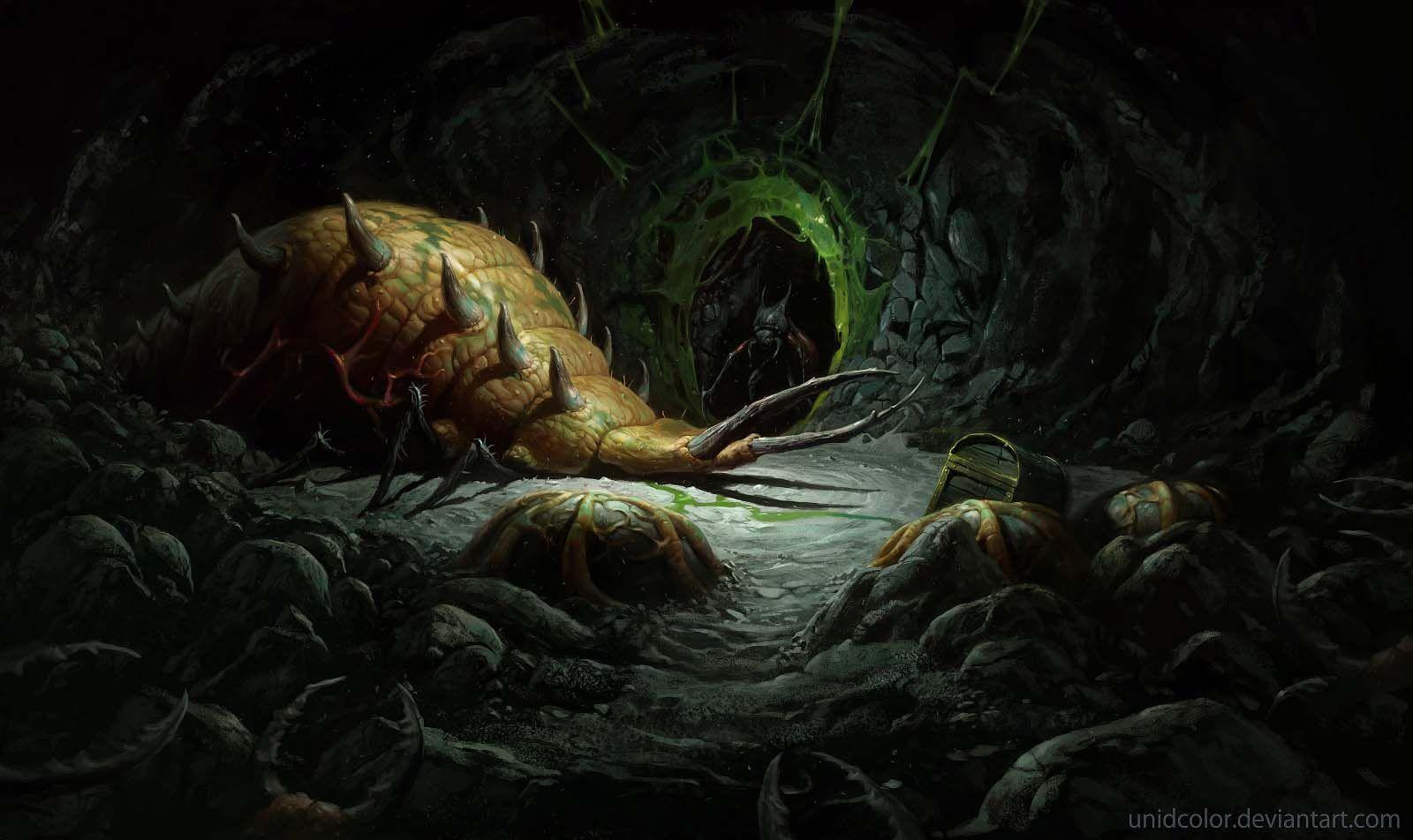 diablo_2 act 2 maggot_lair art by_unidcolor
