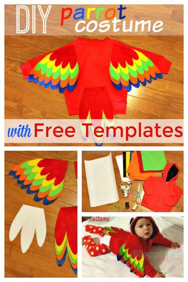 Baby Parrot Costume DIY with Free Pattern Templates #diypiratecostumeforkids