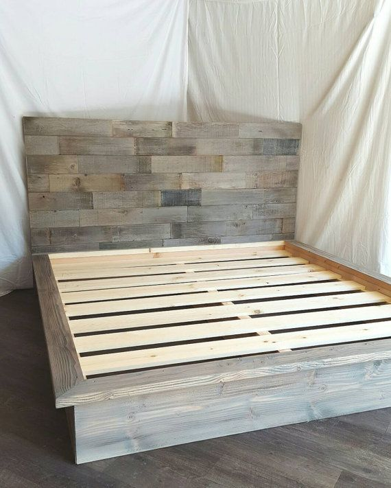 steph grey driftwood finished platform bed with horizontal staggered patched recycled reclaimed wood 50 headboard - Wood Platform Bed Frame