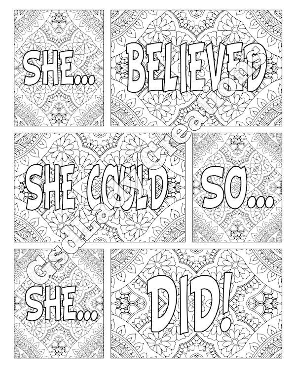 Word Art Adult Coloring Page Art Letter Design She Believed She