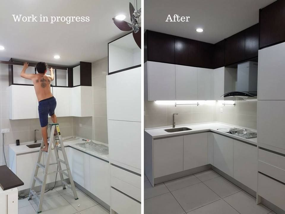 15 Before After Kitchen Renovations In Malaysian Homes Before After Kitchen Kitchen Renovation Laminate Kitchen Cabinets