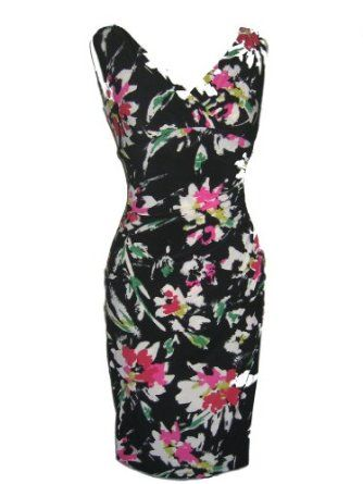 RALPH LAUREN Faux Wrap Ruched Waist Floral Print Spring Summer Sheath Cocktail Dress $96