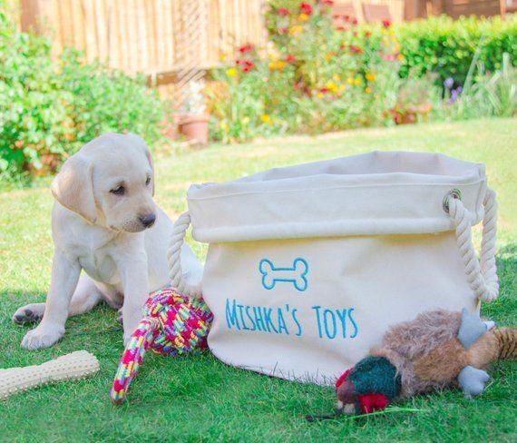 Personalised Dog Toy Basket Dog Toys Storage Bag Dog Toy Bin