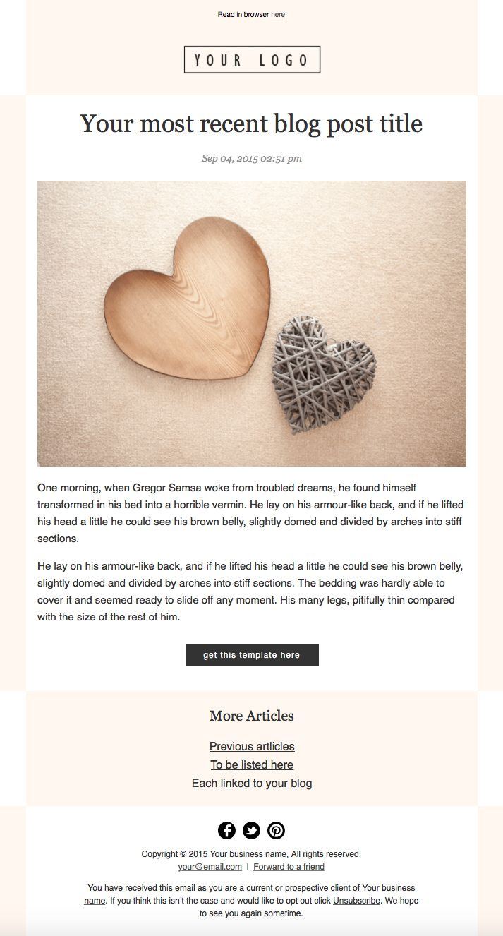 HTML Email RSS Mailchimp Newsletter Template Just Change Your Logo - Mailchimp template size