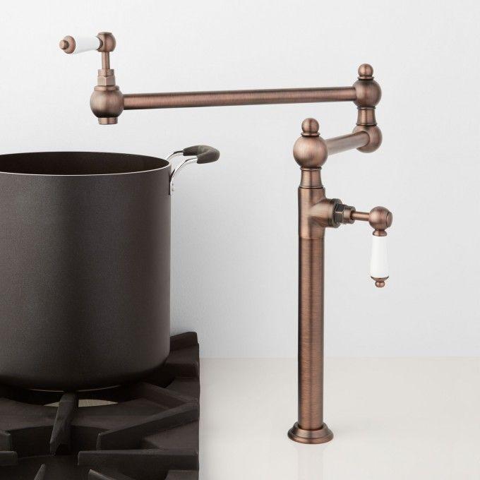 Tifton Deck Mount Retractable Pot Filler Pot Filler Traditional Faucet Bronze Faucet