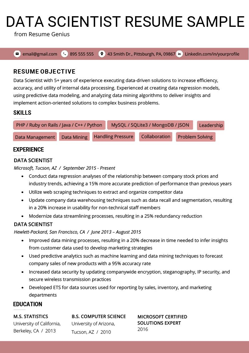 43++ Data science resume template Format