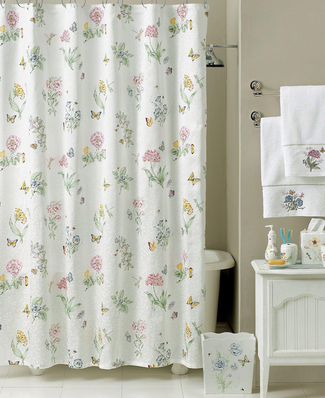 Lenox Bath Accessories, Butterfly Meadow Shower Curtain | Bath ...