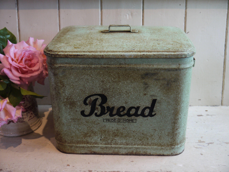 Rare Rustic Green Bread Box Pride o Home English Bread
