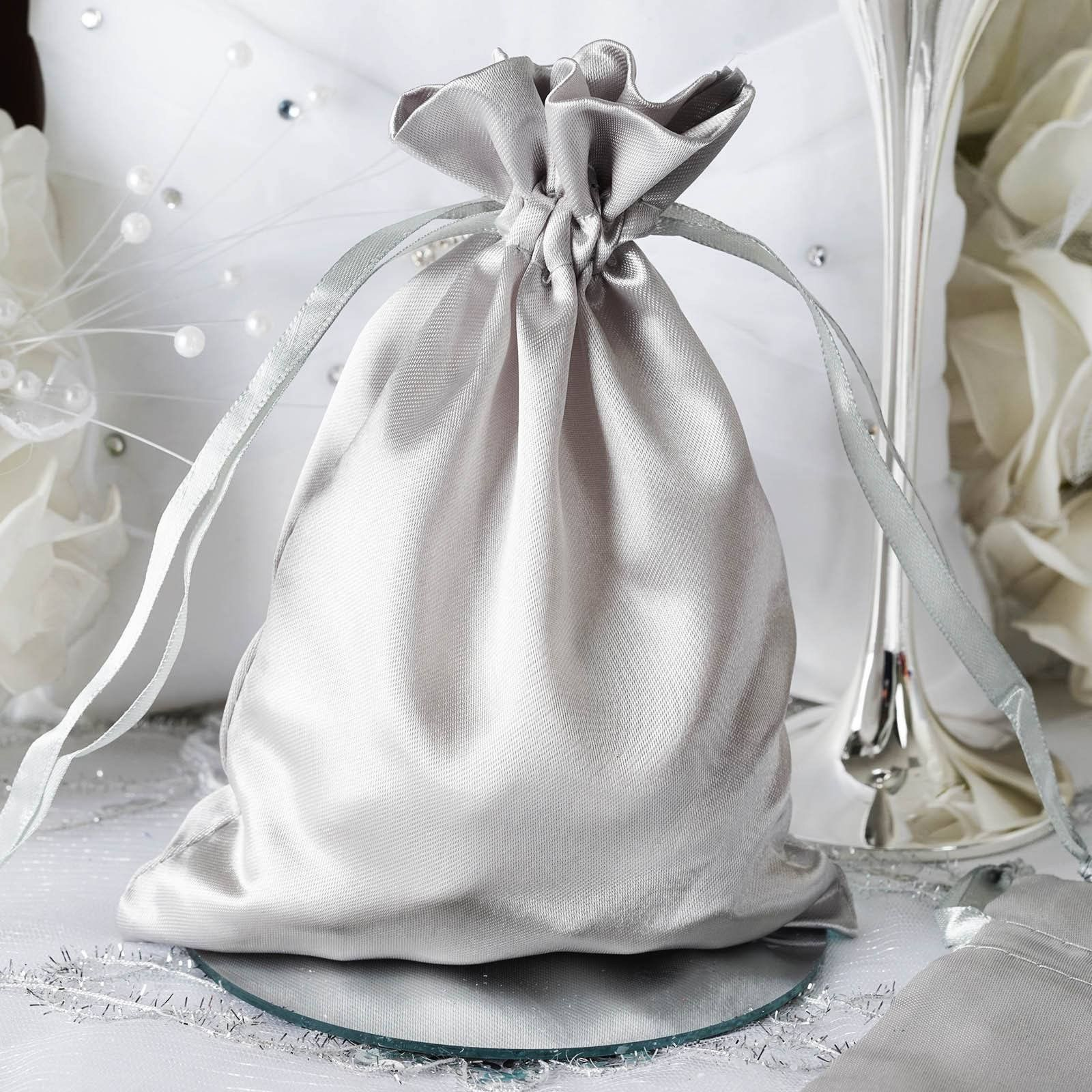 5x7 Silver Satin Bags-dz/pk | Satin and Products