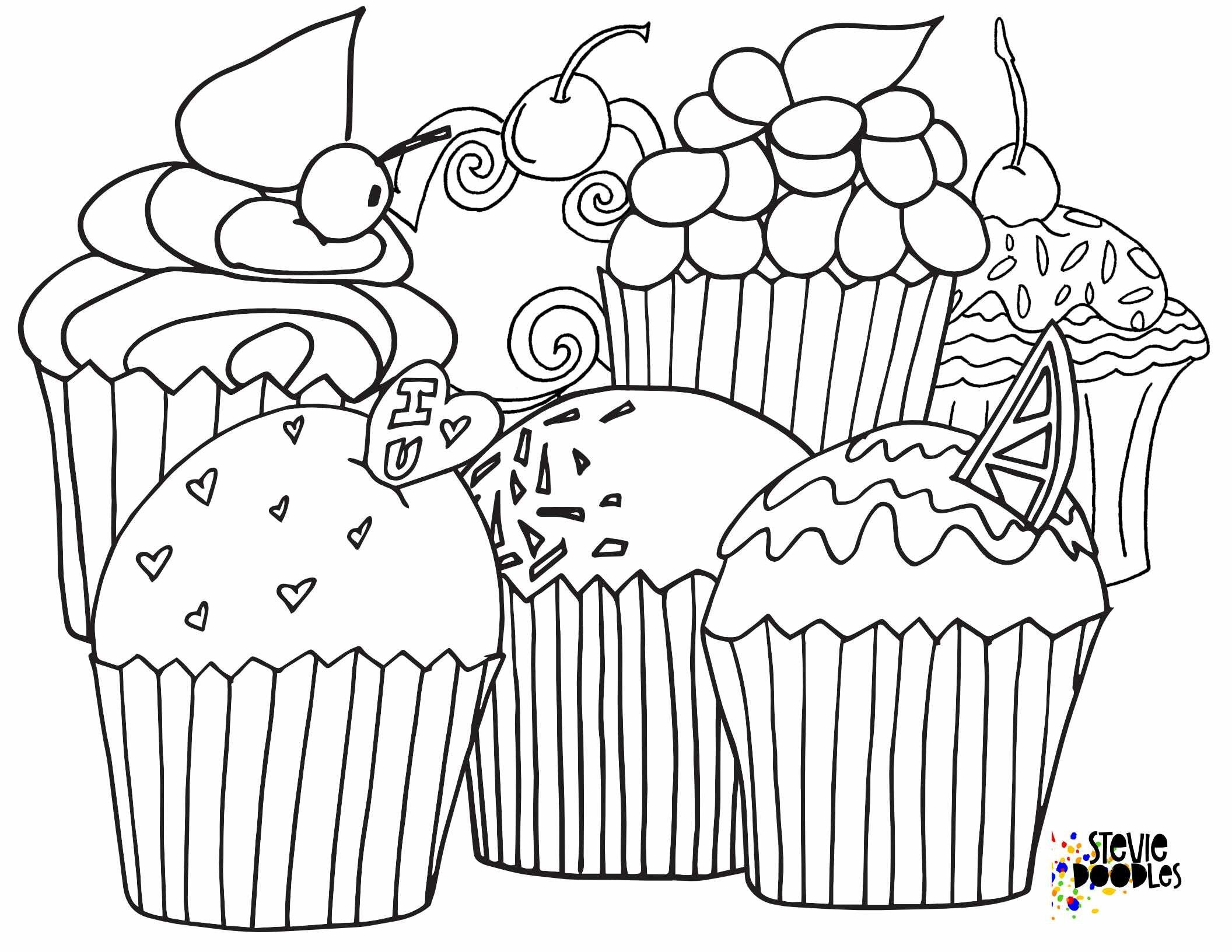 5 Free Cupcake Coloring Pages — Stevie Doodles | Cupcake ...