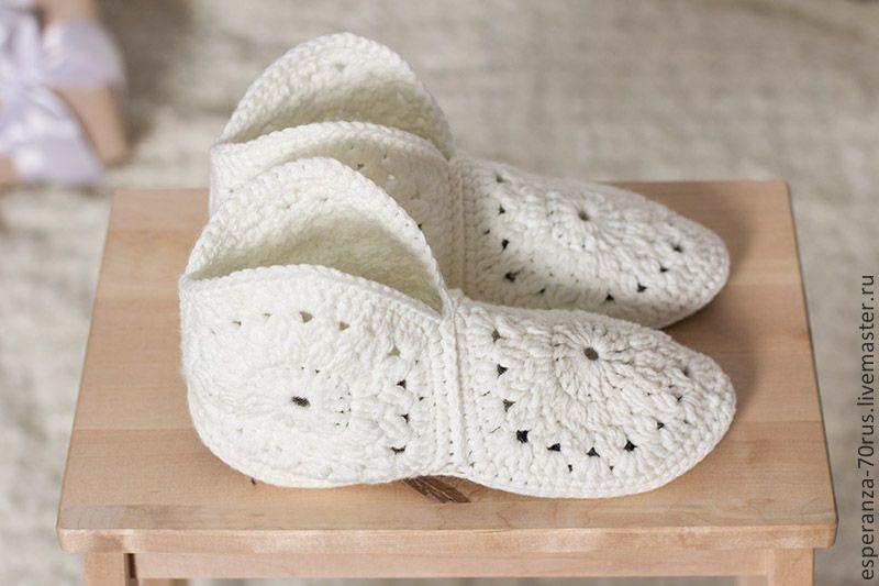 купить милые домашние тапочки и сапожки вязаные тапочки вязание