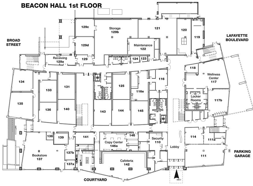Beacon Hall first floor. Room numbers in Beacon Hall are