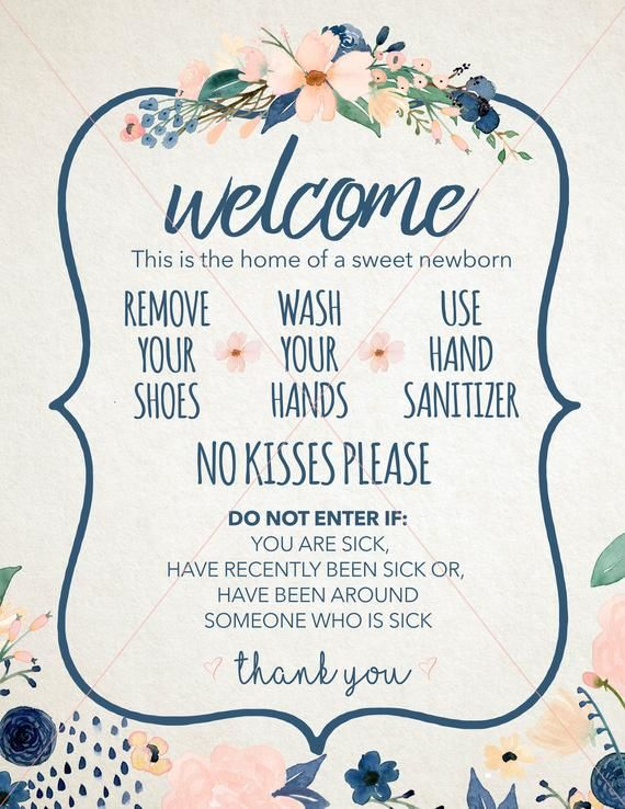 Newborn Wash Hands Welcome Sign Instant Download Only Hospital