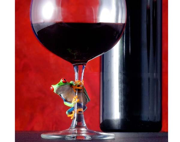 Red Wine & Frog Wine Glass Wine Art by FrogFun on Etsy
