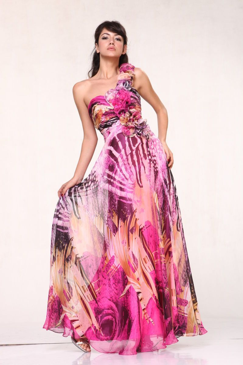fish tail floral LONG ONE SHOULDER PRINT PLUS SIZE FORMAL PROM DRESS ...