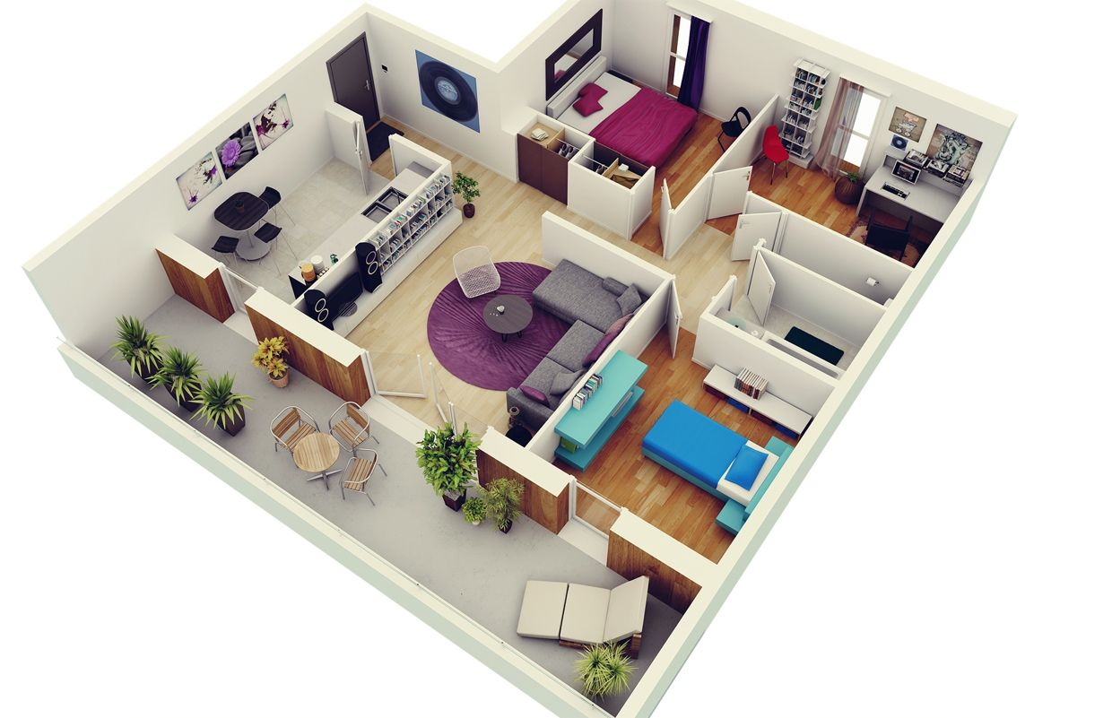 3 Bedroom In 3d Small Apartment Plans 2015 With Veranda