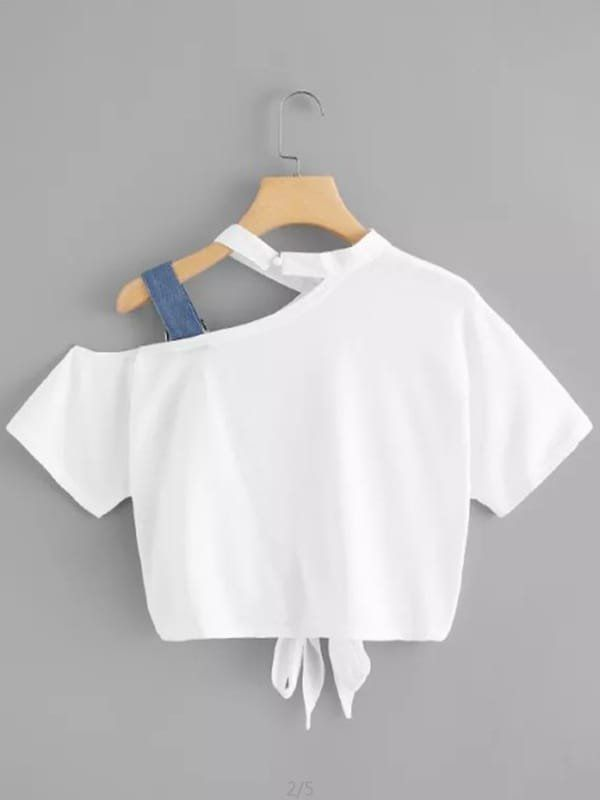 T-shirt pour femmes Bow Hollow Out à manches courtes O Neck Top   – Giyim