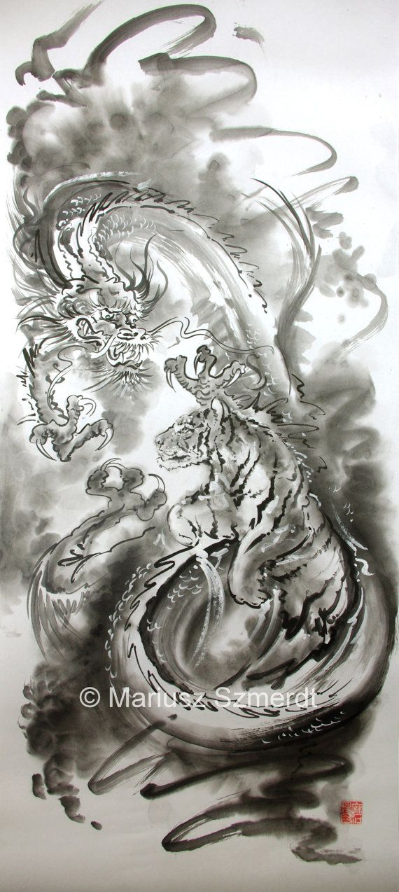 Japanese Tiger And Dragon Painting Stamped Original By Asianature Zl350 00 Tiger Tattoo Tiger Art Art