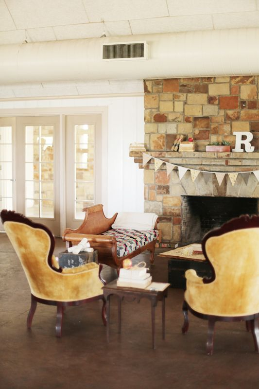 Cool vintage furniture Love the fireplace at Winfrey Point Photos