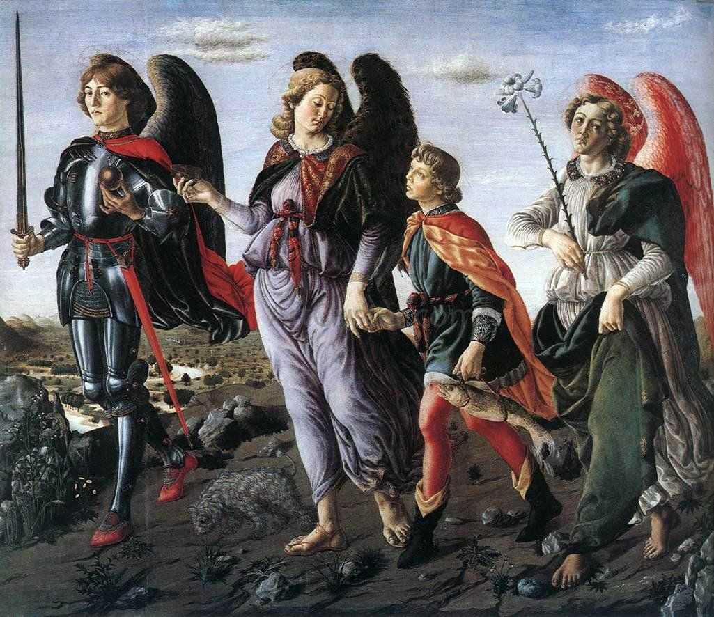 The Three Archangels With Tobias By Francesco Botticini Hand