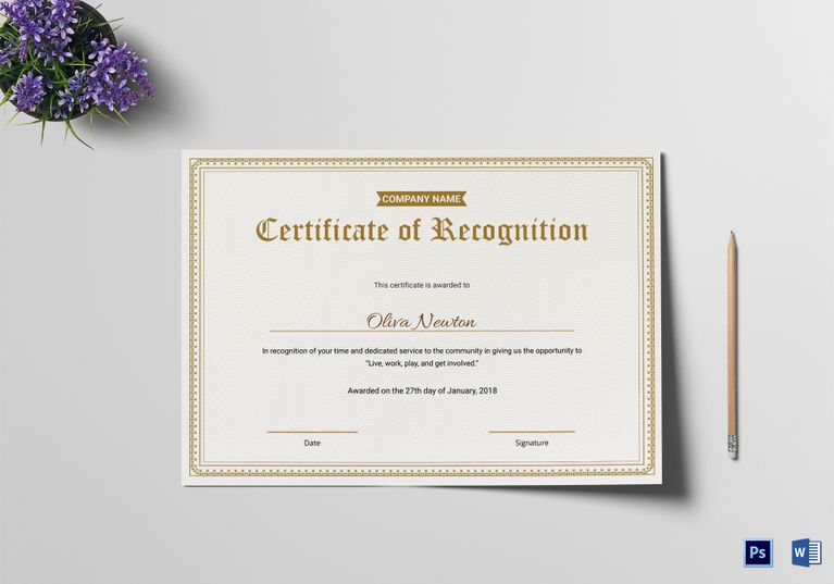 Simple Medical Certificate of Recognition Template $12 Formats - medical certificate