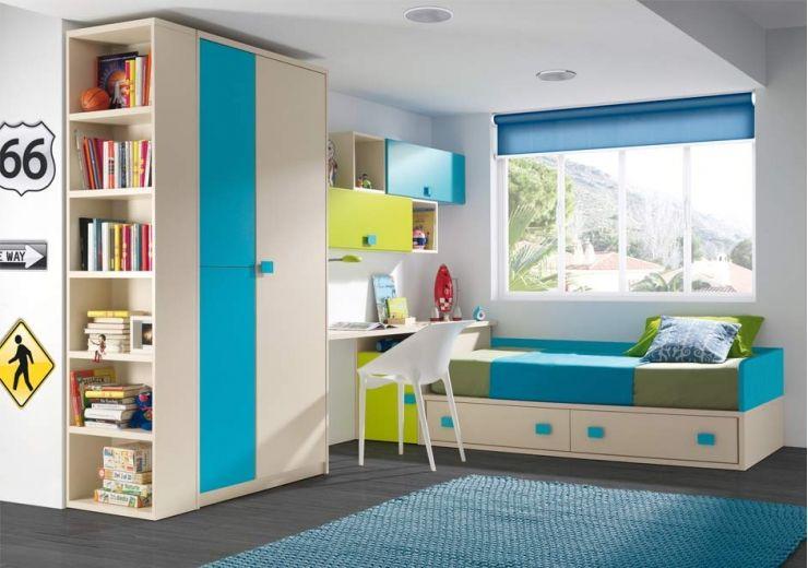Cama nido con contenedores escritorio e armario - Cama nido con escritorio ...