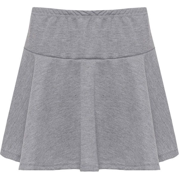 WearAll Plain Short Flared Mini Skirt (84 SEK) ❤ liked on Polyvore featuring skirts, mini skirts, light grey, light grey skirt, short miniskirt, short skirts, elastic waist skirt and mini flare skirt