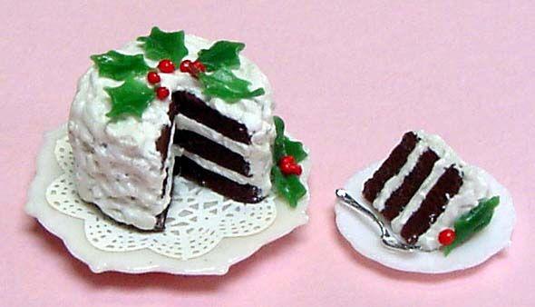 Miniature Three Layer Chocolate Christmas Cake