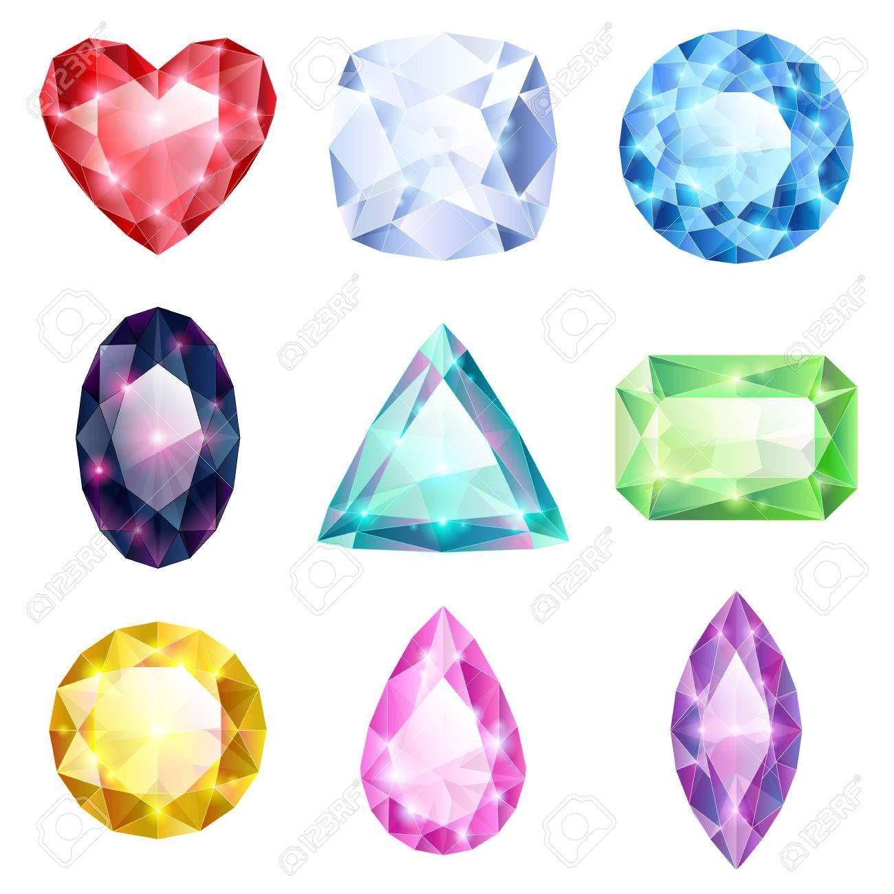 e809da1f1429 Conjunto de brillantes joyas de colores realistas. Diferentes piedras  aisladas sobre fondo blanco. Foto de archivo - 32870073