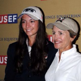 Margie Engle, the oldest rider at the trials, at 54, and Reed Kessler, at 17 the youngest rider, tie for 1st/2nd at the final 2012 Olympic show jumping trials at the national championships in Wellington, Fl.