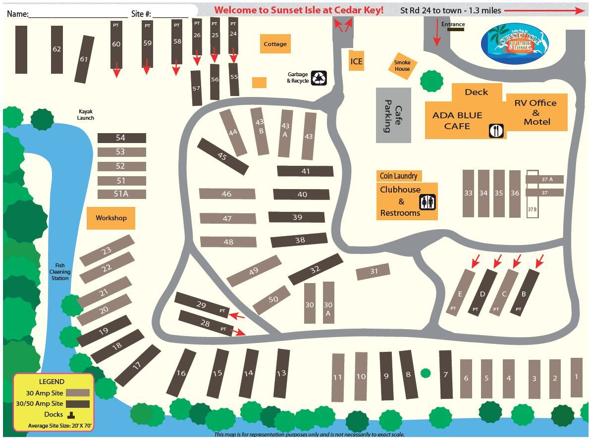 Cedar Key Florida Map.Sunset Isles Rv Resort Cedar Key Florida Campsite Map Rv Winter