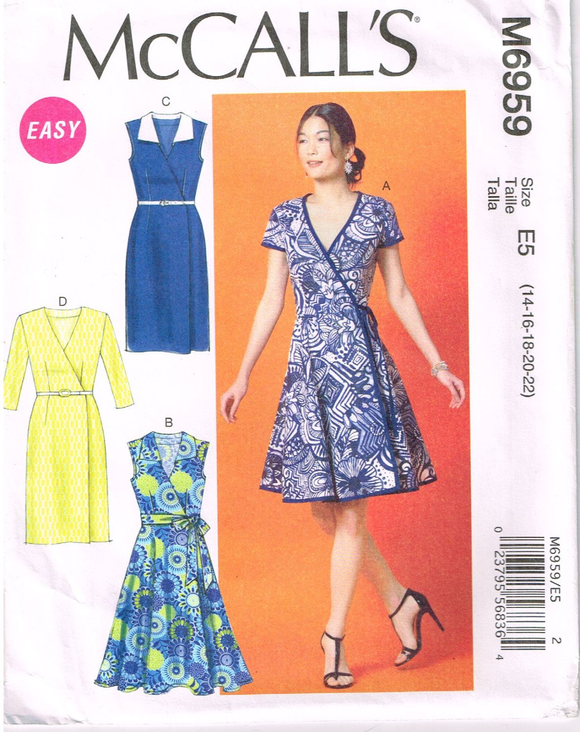 McCall\'s M6959, Sewing Pattern, Women\'s Dresses, Size 14, 16, 18, 20, 22