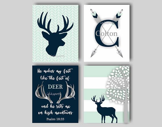 Baby Boy Nursery Art Rustic Deer Bedding
