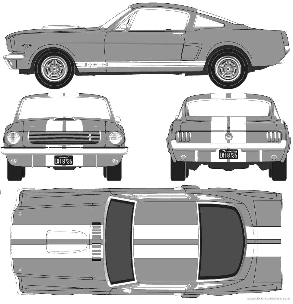 Blueprint Of A Ford Mustang Ford Mustang Mustang Drawing Blueprints