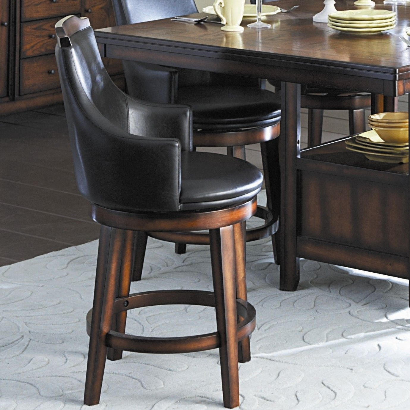 Leather And Wooden Captain Chair Bar Stools Swivel Bar Stools