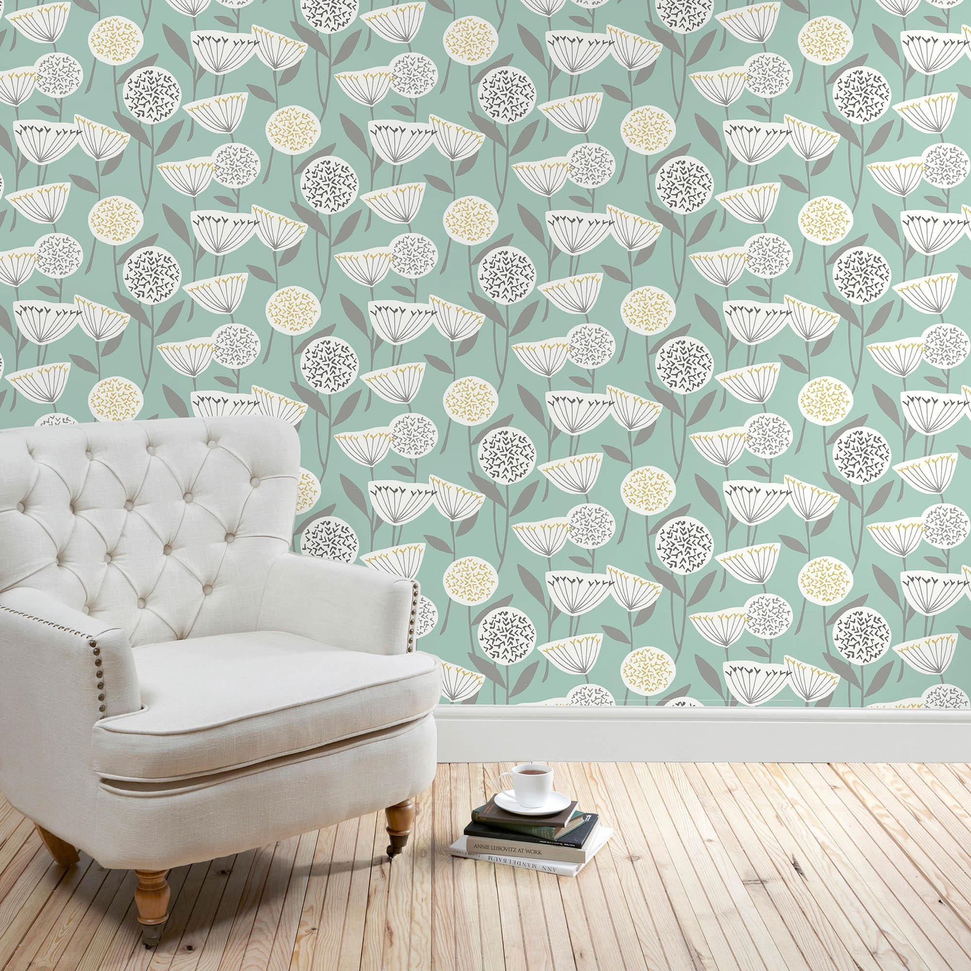Emmott Teal Wallpaper Dunelm Teal wallpaper, Designer