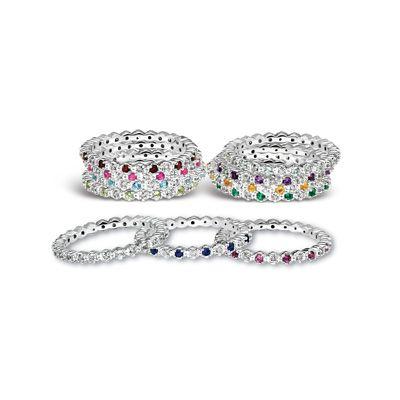 multi-color multi-stone stack ring