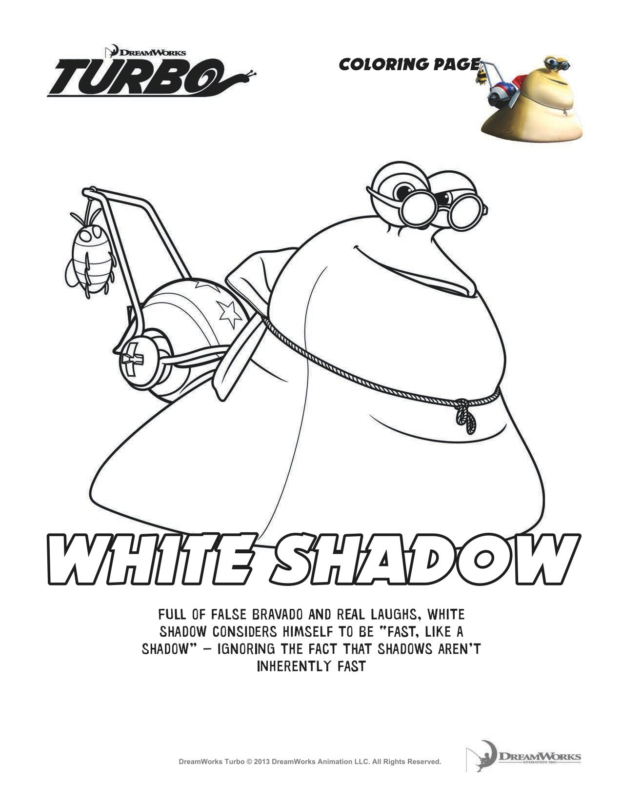 Turbo Printable Coloring Page White Shadow Coloring Pages